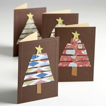Scrap-Paper Christmas Tree Card  Snip scraps of patterned paper and cardstock to make simple Christmas trees on the fronts of store-bought note cards. Brown paper forms the trunk of the tree and a funky yellow star sits at the top. The same effect can be achieved with ribbon scraps.