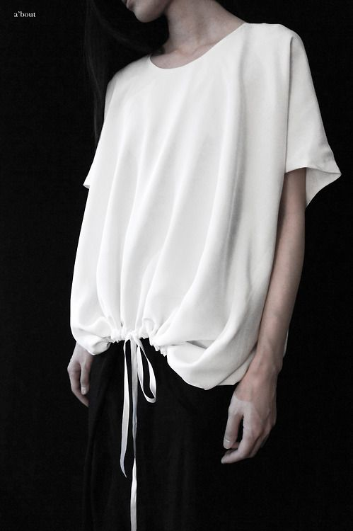 Slouchy top with drawstring hem; chic fashion details // a'bout ss14