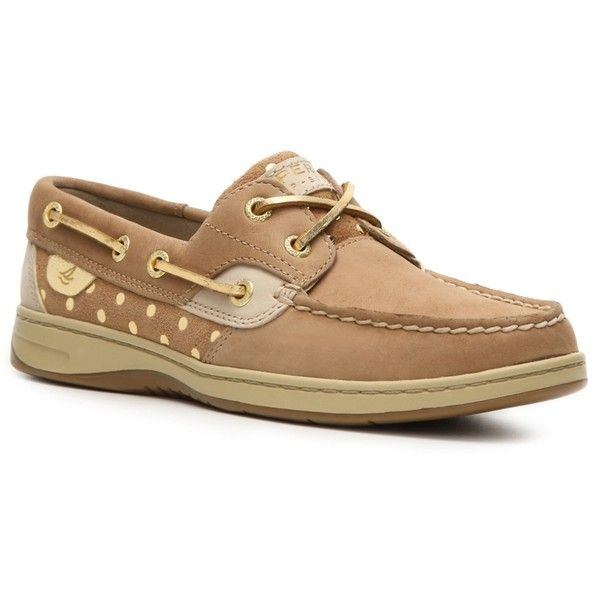 Sperry Top-Sider Bluefish Polka Dots Boat Shoe ($80) ❤ liked on Polyvore featuring shoes, loafers, flats, sperry, boat shoes & sport, flat heel shoes, sperry top-sider shoes, flat shoes, polka dot flats and boat shoes