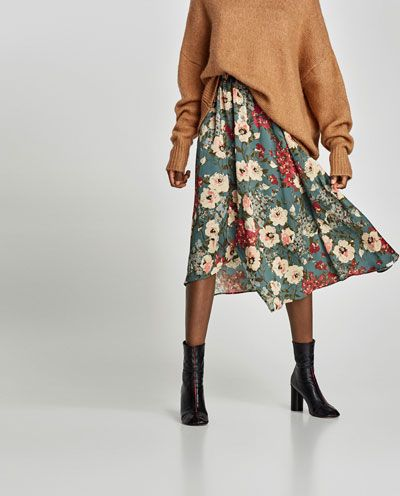 Image 2 of FLORAL PRINT MIDI SKIRT from Zara