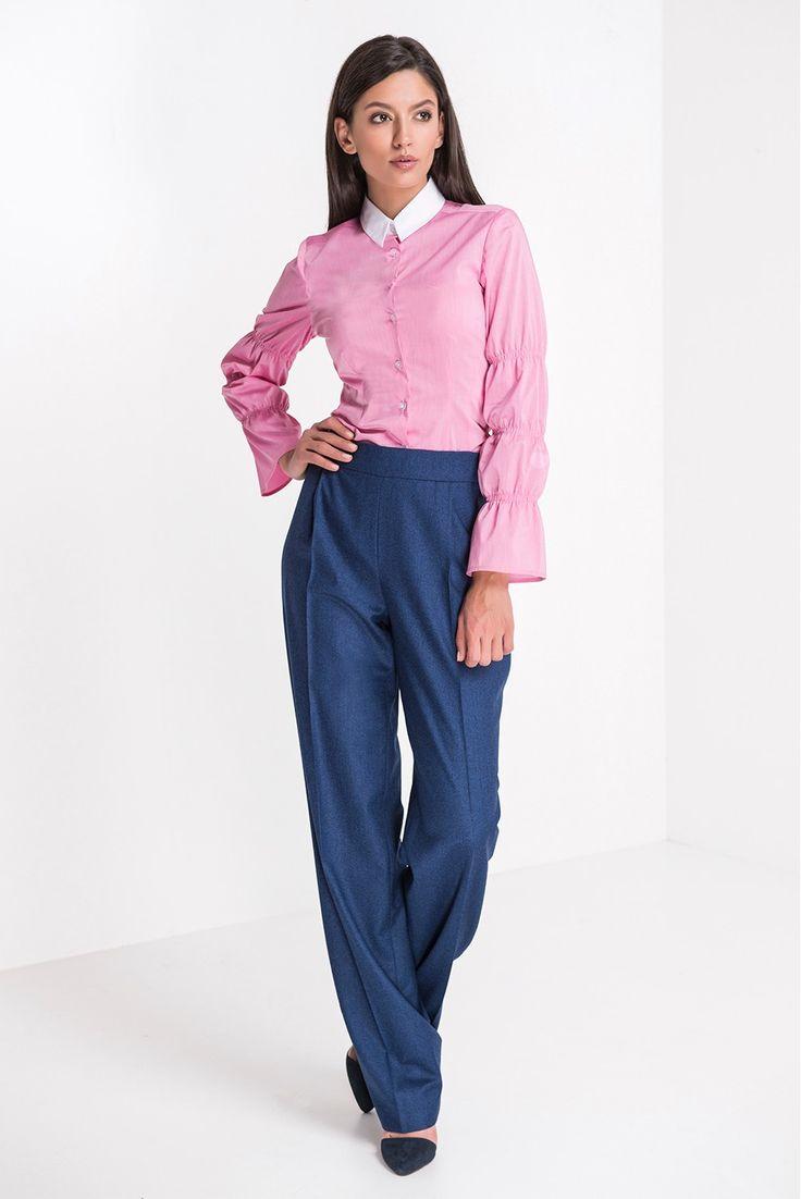 Camasa Laika Roz - Camasa roz cu maneci incretite
