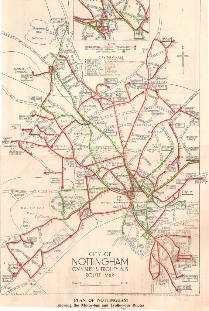 Map of bus and trolley bus services in Nottingham, 1940s.