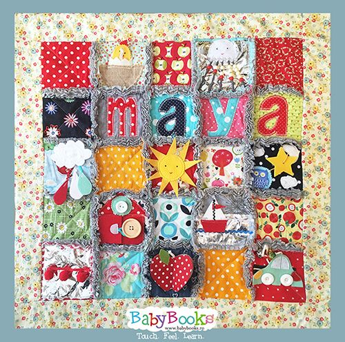 Maya's sensory activity blanket. Perfect for encouraging new babies to spend time on their belly.