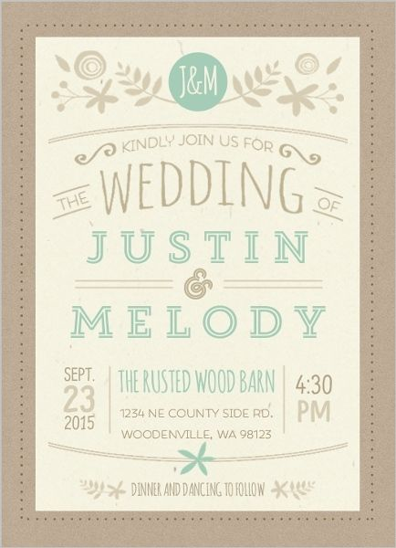 Nature Mint Kraft Wedding Invitation by WeddingPaperie.com. #rusticwedding #rusticweddinginvitations