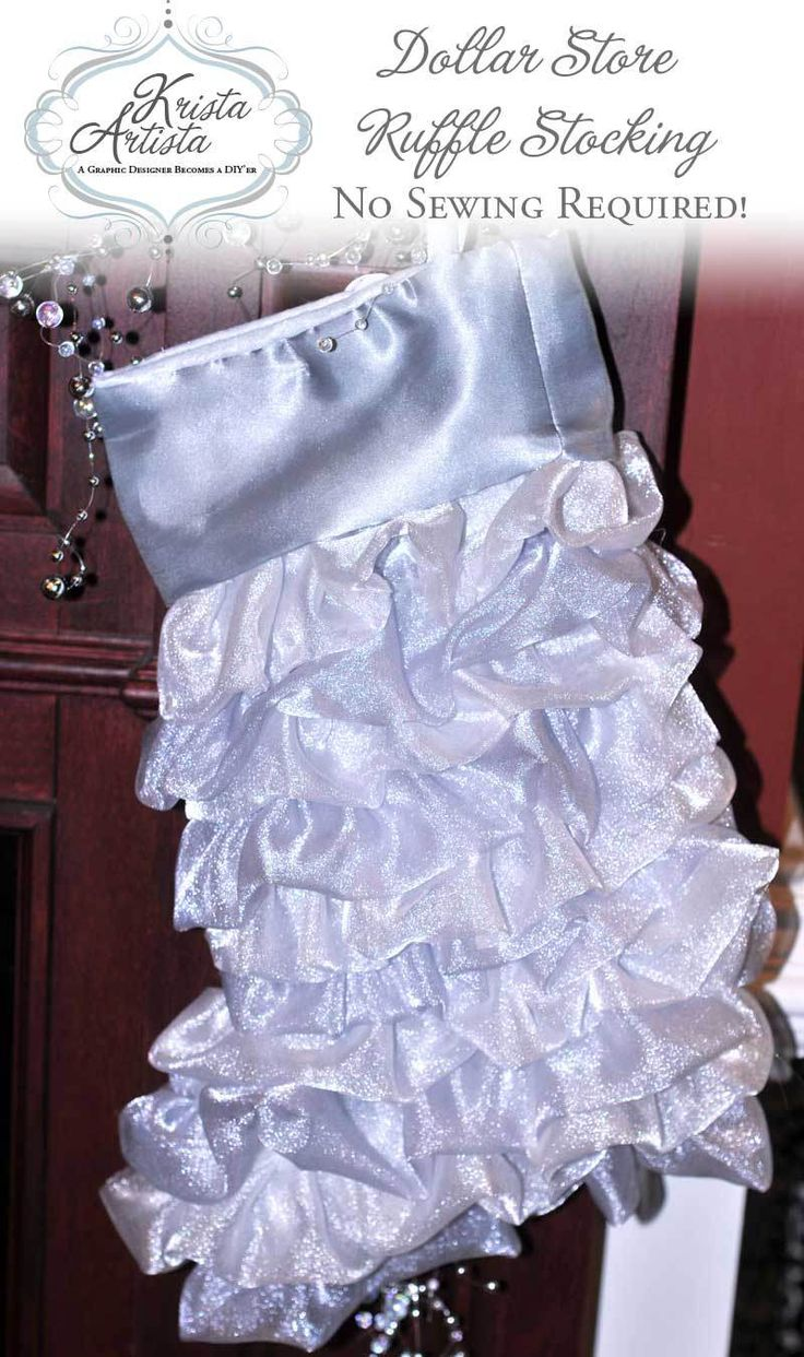 Dollar Store Stocking Remake - with ruffles