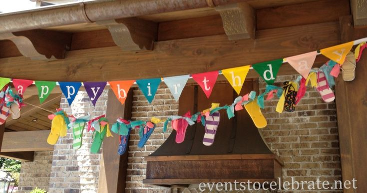 Swim Party Decorations - DIY flip flop garland from dollar store flip flops and fabric scraps!