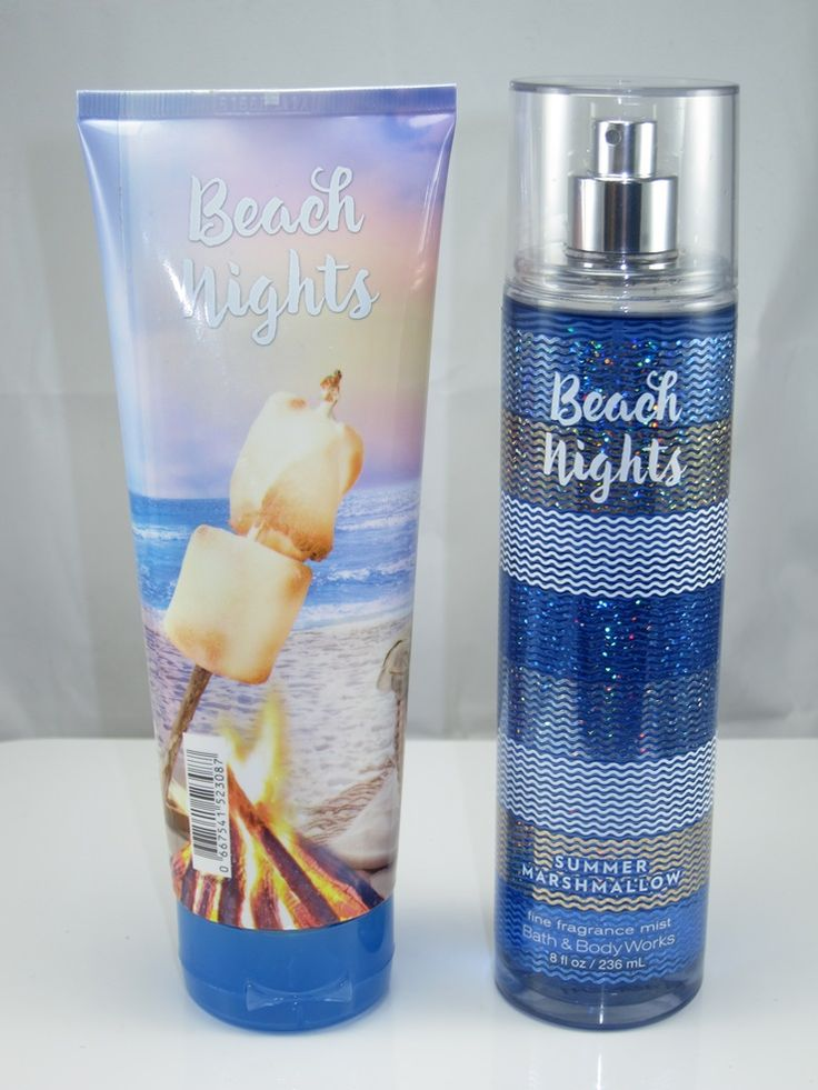 Bath & Body Works is my addiction! My current scent of choice from Bath & Body Works is their 'Beach Nights: Summer Marshmallow' scent. This scent smells like a marshmallow but isn't  too overpowering. It makes me think of roasting marshmallows. I bought the small hand cream, the big lotion, and the big body mist.