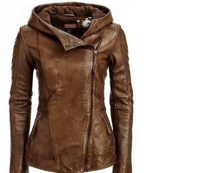 Brown leather moto jacket women