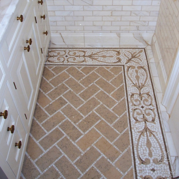"Bathroom Wall Tile Border Ideas: Alexander 9"" Mosaic Border With Puccini Field Marble"