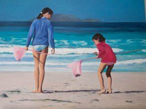 2013 Mia Laing 'The Shell Seekers'oil on canvas - 30x40inches#art #oilpainting #painting #childreninart #beachpainting #beach #mymiasart #figurativepainting