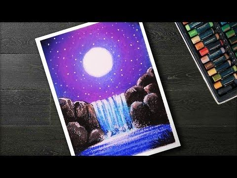 How To Draw Moonlight Waterfall Scenery With Oil Pastels Step By