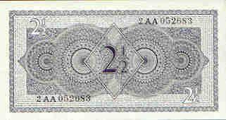Nederlands geld uit de jaren 50 tot 70  2 1/2 guldenbiljet achterkant