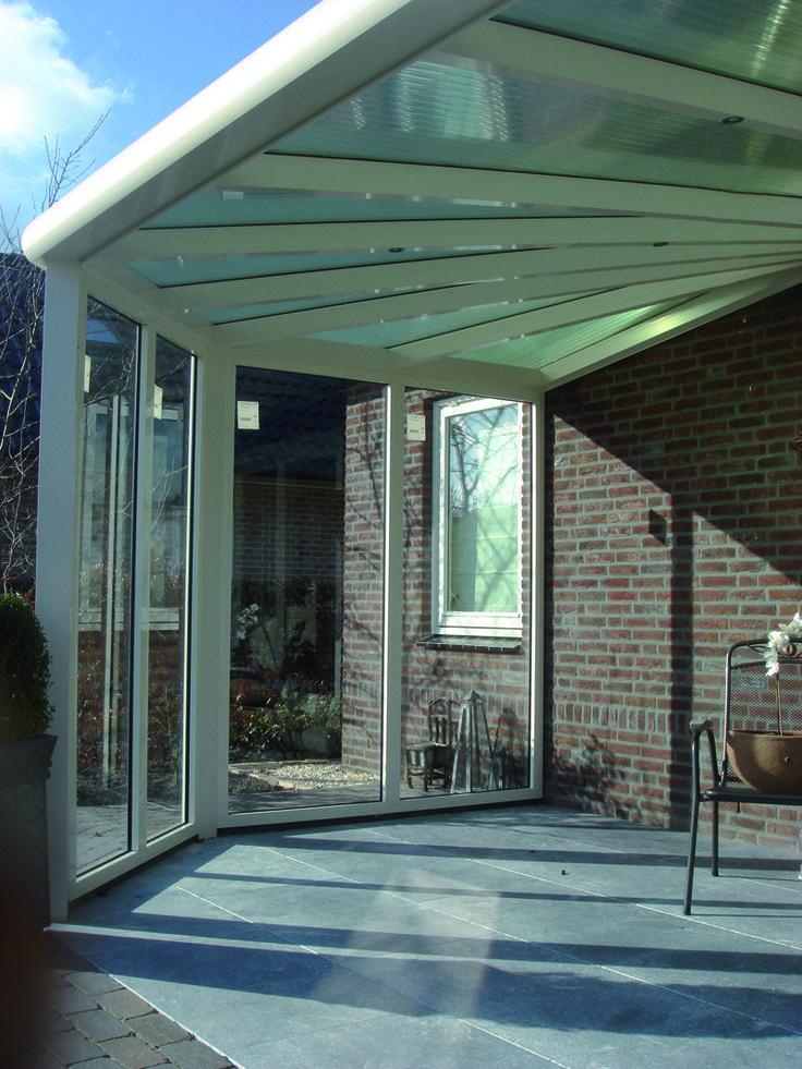 Glazen terrasoverkapping met waaier serre overkapping veranda tuinkamer - Terras eigentijds huis ...
