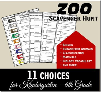 FREE Zoo Scavenger Hunt for Elementary Student Field Trips. Focused on concepts we learned in Biology -      Biomes     Endangered Animals     Animal Classification     Mammals     Biology Vocabulary     and more!