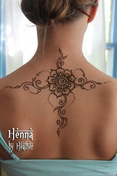 Flower Mehndi Tattoo Design On Upper Back And Shoulders Armband