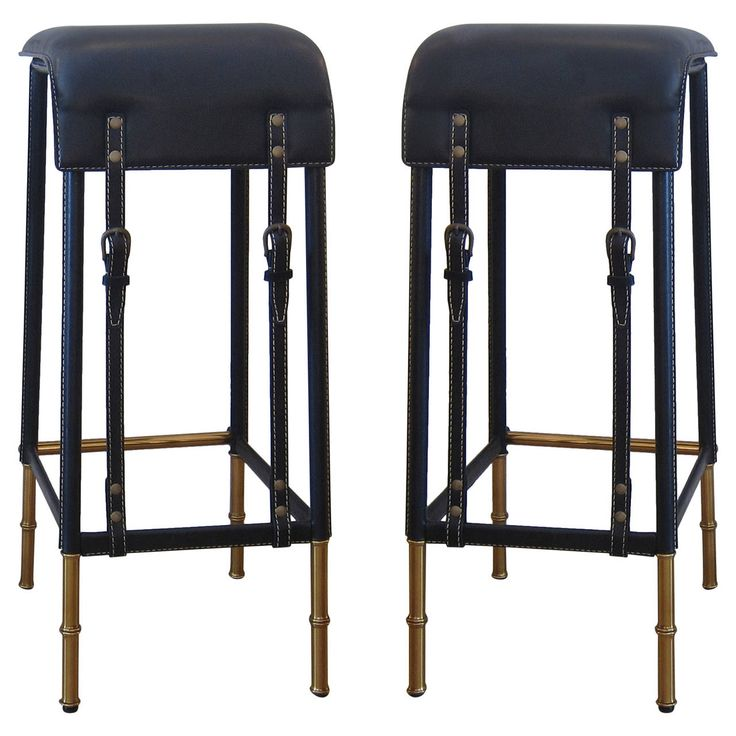 Pair of Black Stitched Leather Bar Stools by Jacques Adnet ...