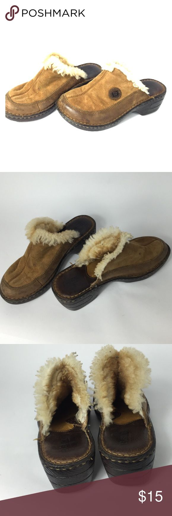 *Born* woman's fur clogs 8/10 condition. Good condition. Comfortable for a quick visit to Walmart or a walk to the park with the dog. Suede a little worn. Size 6. 2.5 inch heel. Normal wear/ tear all around both shoes ( see pictures).I am a businessman, make me an offer I cant refuse! Please do not hesitate to ask any questions or for more pictures. Thank you for your time and have a wonderful day Born Shoes Mules & Clogs