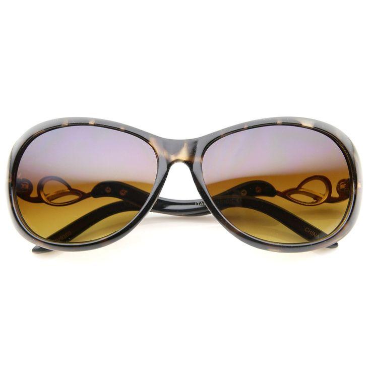 Women's Metal Temple Rhinestone Accent Oval Gradient Lens Oversize Sunglasses 61mm