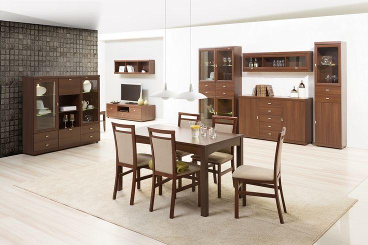 Meris to kolekcja stworzona w dwóch klimatycznych kolorach. Wiśnia malaga dla tych, którzy pragną tchnąć we wnętrze elegancję i szyk, akacja królewska dla tych, którzy preferują ciepło oraz kameralną atmosferę. #meble #szynakameble #furniture #wood #drewno #inspiracja #zainspirujsie #inspiration #jadalnia #diningroom