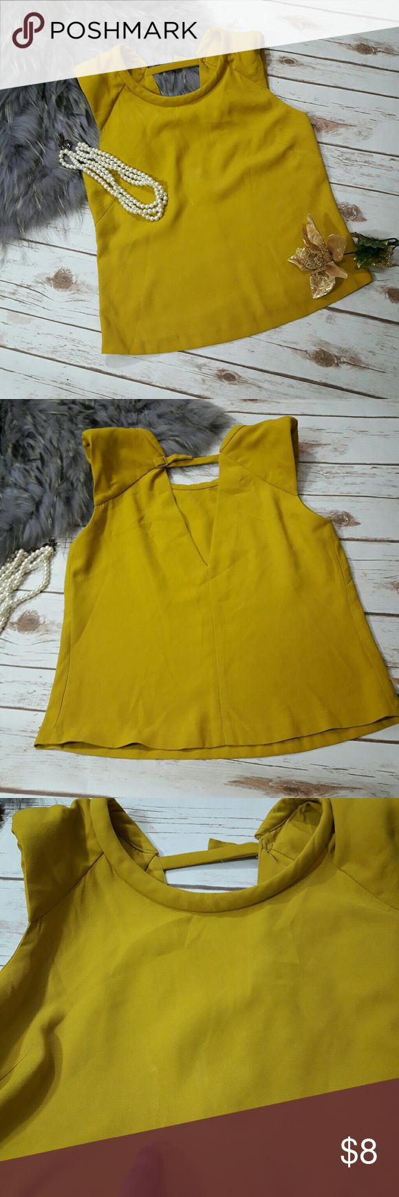 """Zara yellow women's top ♡ Stain- please see pictures ♡Dry clean only  ♡Length: ~21"""" ♡ Underarm-underarm:16""""  ♡Due to studio lighting, product be may lighter or darker in pictures.  Bundle 2 or more items in my closet to save 10% and pay only ONE shipping fee!!! #1 Zara Tops Blouses"""