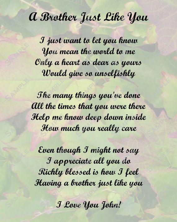 I Lost My Brother Poems | Brother Poem Love Poem Digital INSTANT DOWNLOAD - On Sale!!