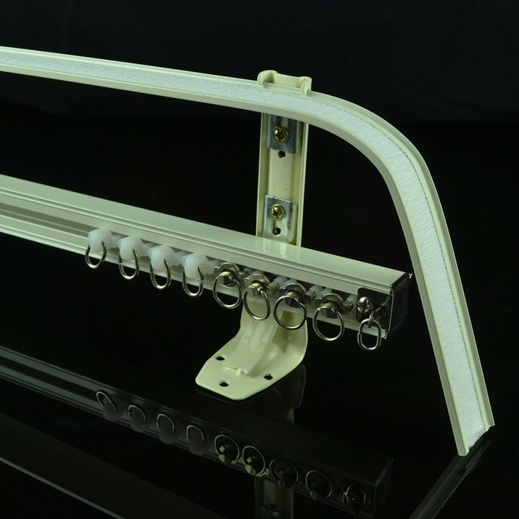 CHR8125 Ivory Double Curtain Tracks with Valance Track Wall Mount Curtain Rails