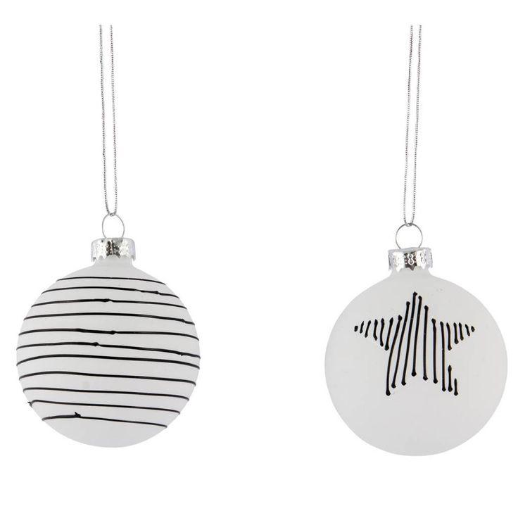 House Doctor kerstballen wit stripe 2st