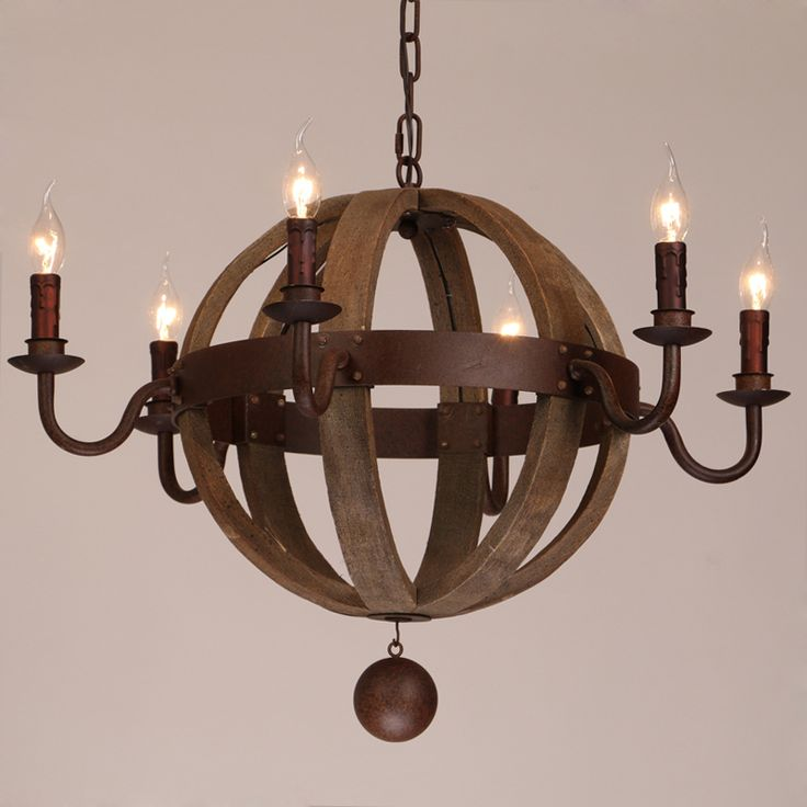 Farmhouse Weathered Wooden Globe Chandelier Bring In An Inviting Feel