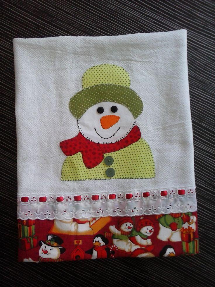 Pano de prato de natal boneco de neve, muito lindo para presentear no natal