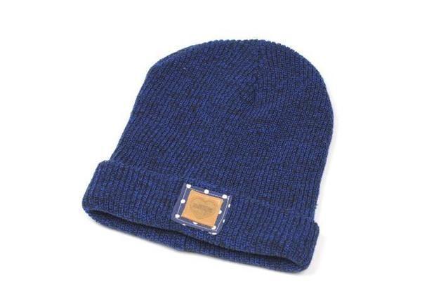 Beaniemützen - Beanie-Mütze Blau weiße Punkte Wildleder Beanie - ein Designerstück von Knitters bei DaWanda