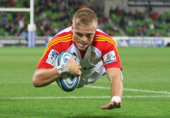 Gareth Anscombe of the Chiefs dives to score his teams first try during the round 12 Super Rugby match between the Rebels and the Chiefs at AAMI Park on May 3, 2013 in Melbourne, Australia.