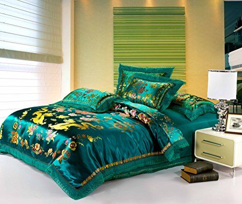 Cliab Chinese Traditional Bedding Asian Bedding Queen with Dragon and Phoenix Bird Embroidery Duvet Cover Set 4pcs Cliab Duvet Cover Sets http://www.amazon.com/dp/B00KMRKNA8/ref=cm_sw_r_pi_dp_doIgvb12YC2GB