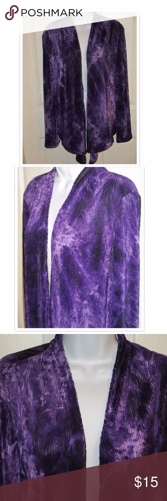 Chico's Purple and White Tie Dye Jacket SZ 2 M This is gorgeous.. Has a tie Dye Effect.. Open Jacket. The length is 26 inches. Material is 100% Polyester. Follow me on twitter @hkymom93 and on instagram @closet2closet93... Check out y fashion blog:https://lisa-the-fashionista.blogspot.com/ Chico's Jackets & Coats