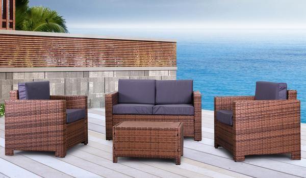 Eden Rock Collection - Designer Outdoor Garden Patio 4-Piece Waterproof Cushion Rattan Wicker Loveseat Chair and Coffee Table Furniture Set.