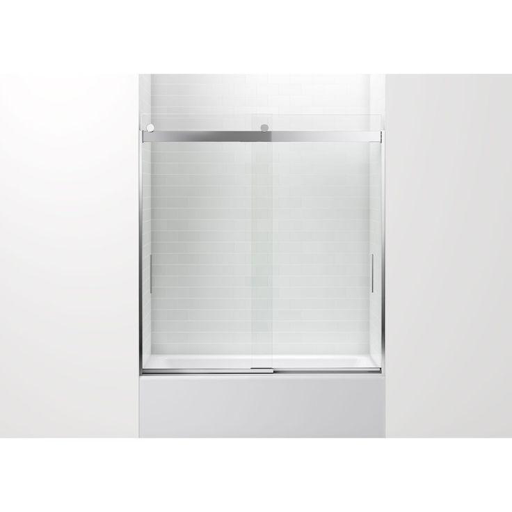 Lovely KOHLER Levity 59.625 In W X 62 In H Bright Silver Frameless Bathtub Door