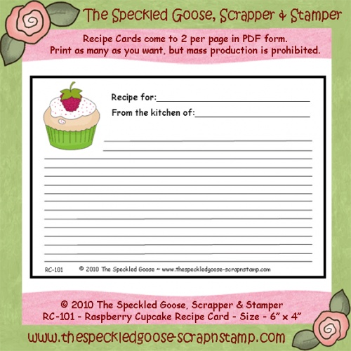 Image detail for -Raspberry Cupcake Printable Recipe Card - recipe card