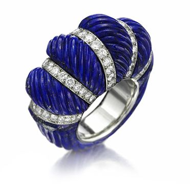 A Carved Lapis Lazuli and Diamond Ring, Cartier, circa 1950 Photo courtesy of FD Gallery