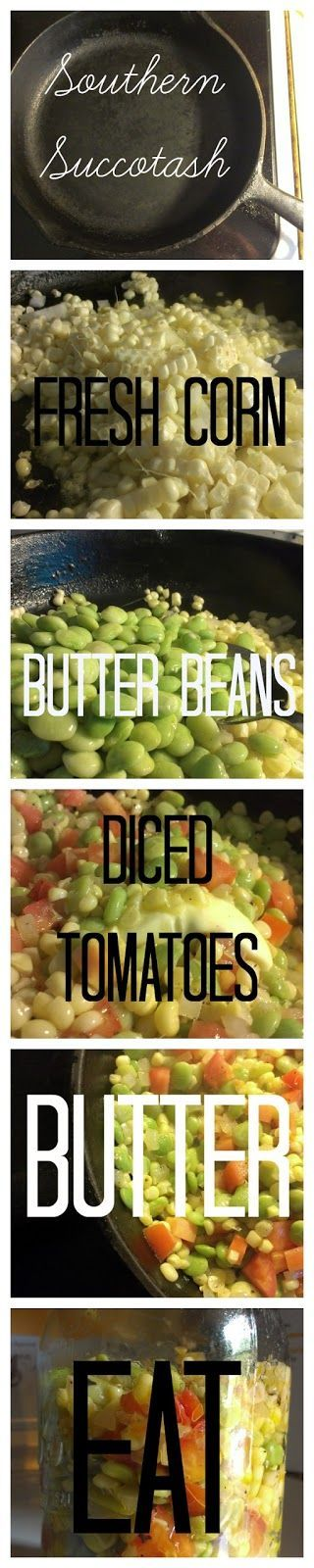 There may be debates about the topic but succotash is corn prepared with lima beans (or butter beans) and tomatoes are optional. All of this needs to be topped with lard or butter and then it's Southern. Add a cast-iron skillet and you have a recipe for success. Any other variation is merely mixed vegetables.