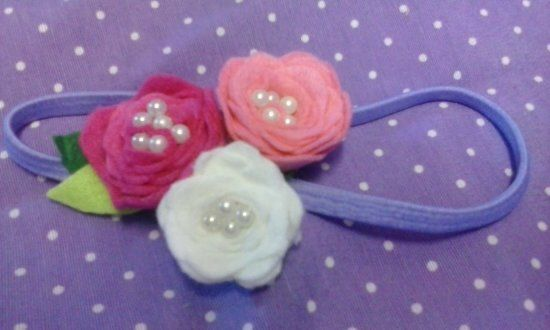 Hair accessories-felt,roses and perls.