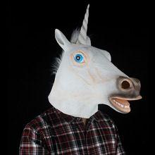 Scary Unicorn Mask Animal Horse Head Latex Masks for Adult Full Face Halloween…