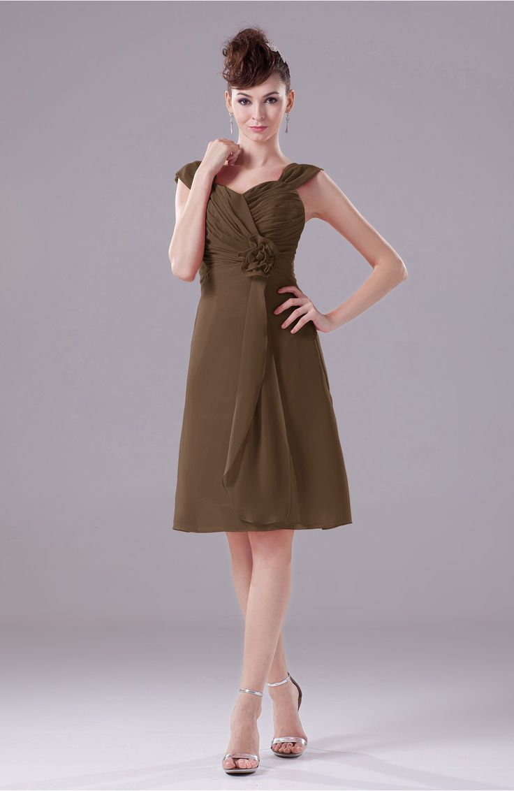 New Brown Party Dress Elegant A line Thick Straps Chiffon Knee Length Wedding Party DressesDress