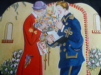 1920's Carrington Valentine Soldier Gives Debutante Flowers Stucco Home Front | eBay