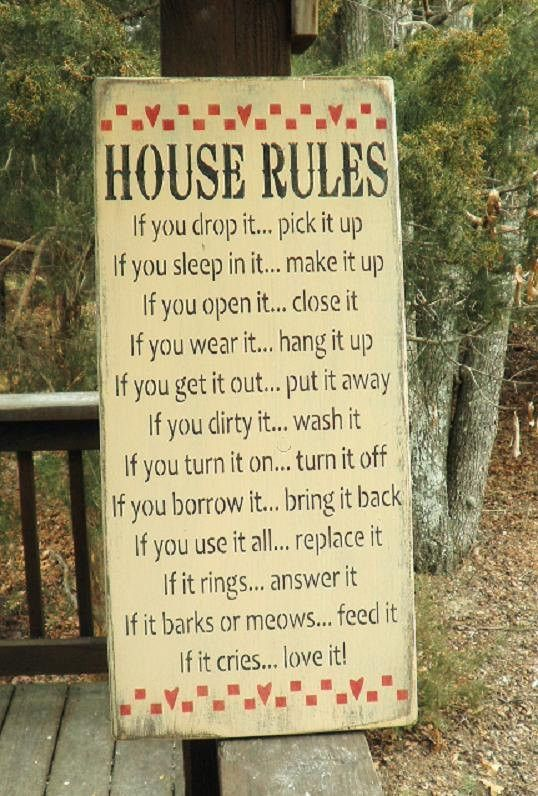 """This primitive rustic sign, is perfect for your country home decor. House rules , family rules sign, with a touch of humor. Sign measures 26"""" X 11 1/4"""" It is made of wood, and hand painted and distres"""