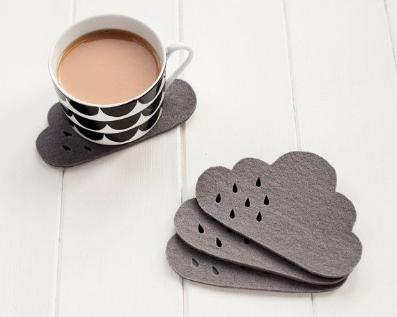 Cloud Felt Coaster set with punched rain detail   by pygmycloud
