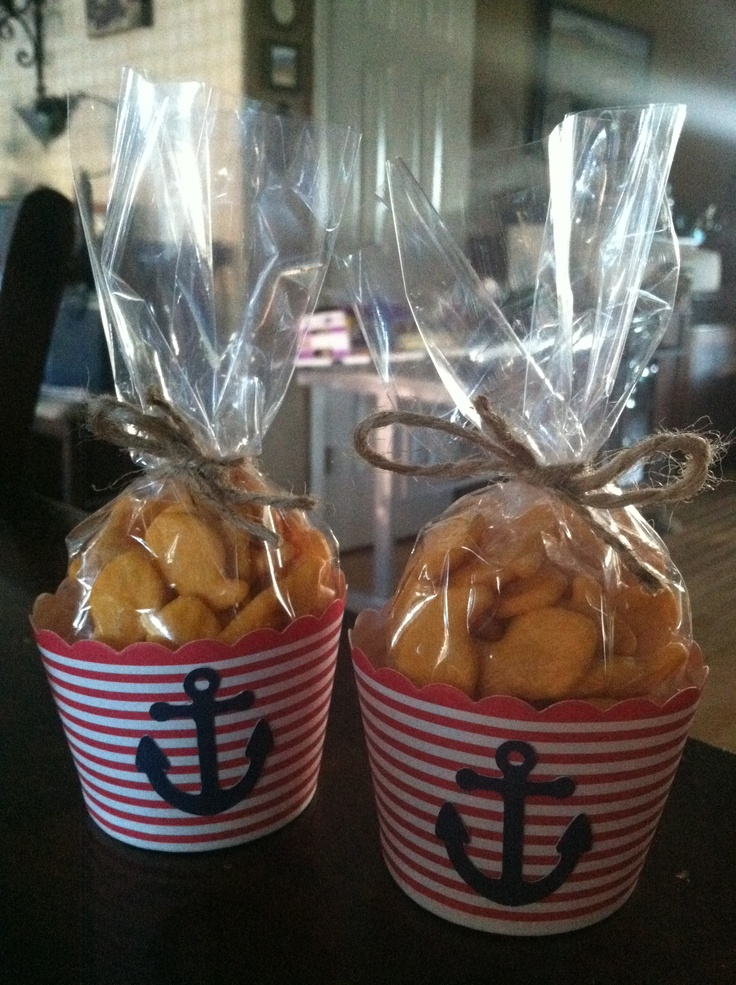 """Nautical baby shower party favors, cups of goldfish """"Thanks for sailing by!"""""""