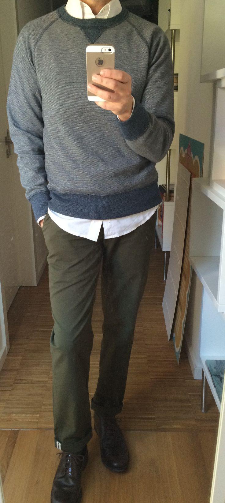 Ben Sherman Shirt, Chinos and Shoes. Billy Reid Sweatshirt.