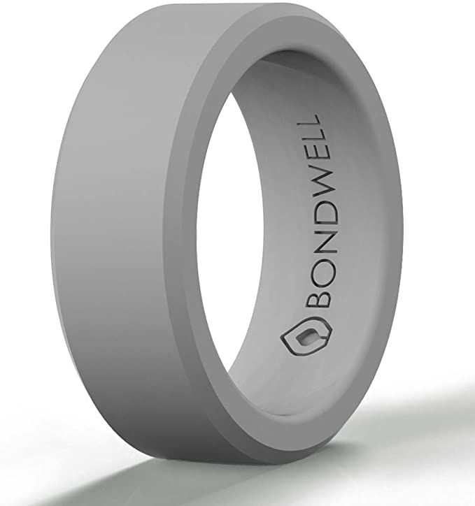 Amazon Com Bondwell Silicone Wedding Ring For Men Gray Safe Durable Mens Rubber Wedding Band In 2020 Rubber Wedding Band Silicone Wedding Rings Mens Wedding Rings