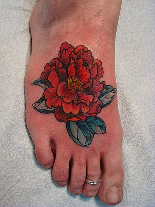 Peony tattoo on foot - 50 Peony Tattoo Designs and Meanings