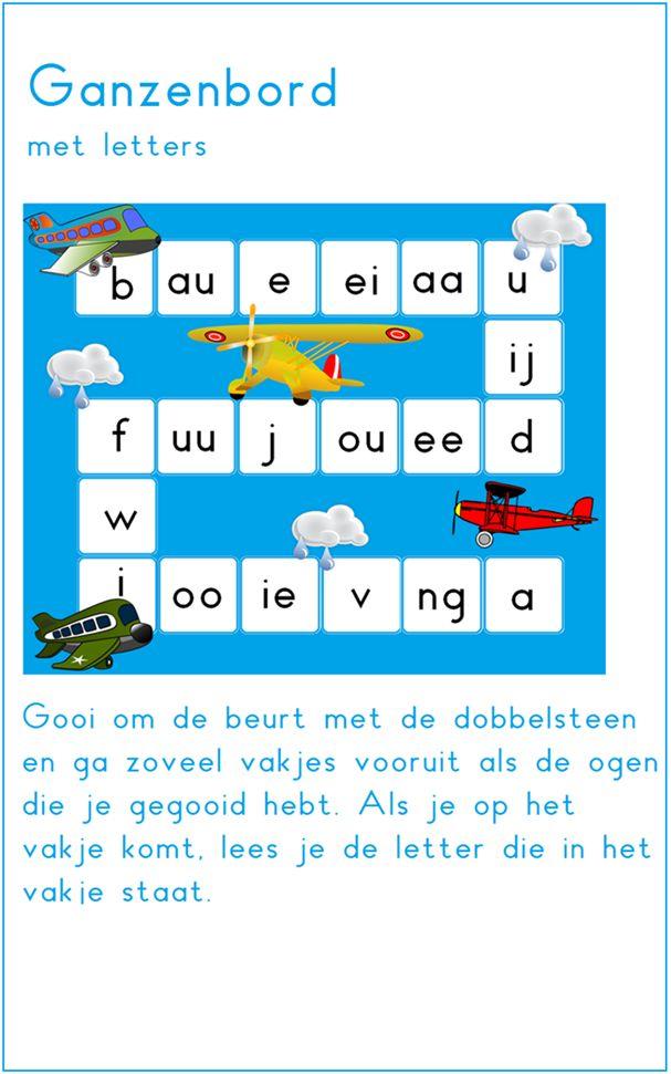 Lijn 3, thema 6.. Ganzenbord met letters. Aanpassen naar woordje schrijven