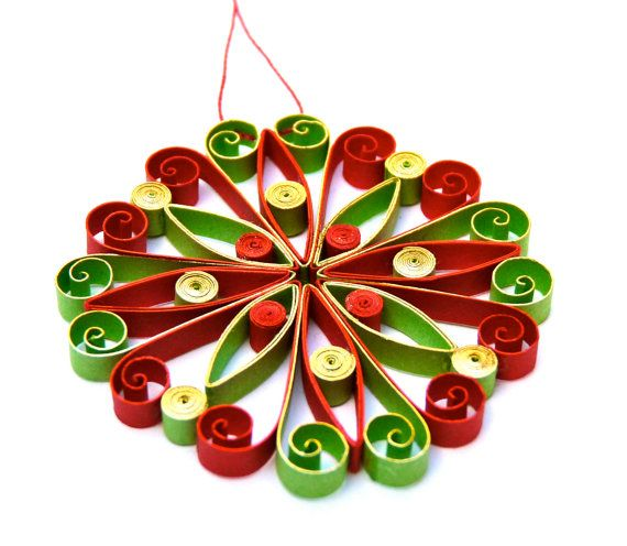 Christmas decoration, quilling, quilled